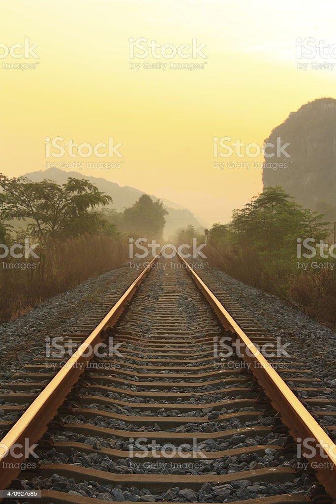 Railway extension at dawn stock photo