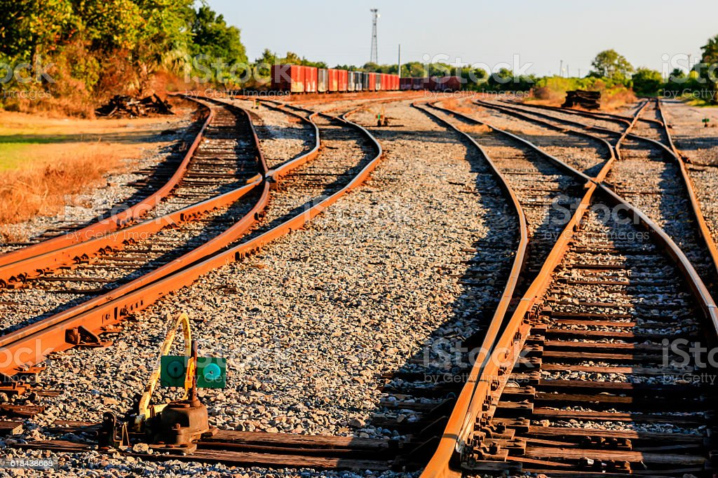 Railway freight yard at Fernandina Beach City, Florida stock photo