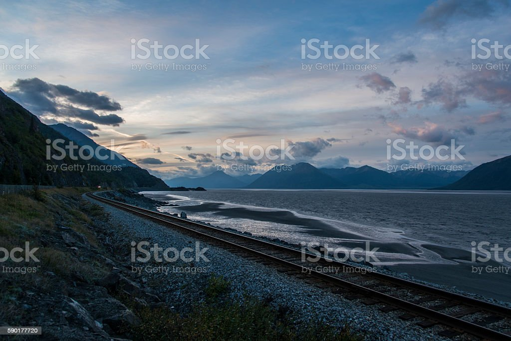 Railway from Anchorage to Seward stock photo