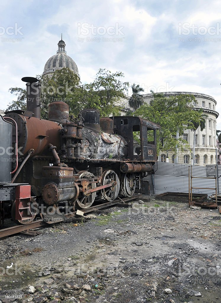 Railway graveyard, Havana, Cuba royalty-free stock photo