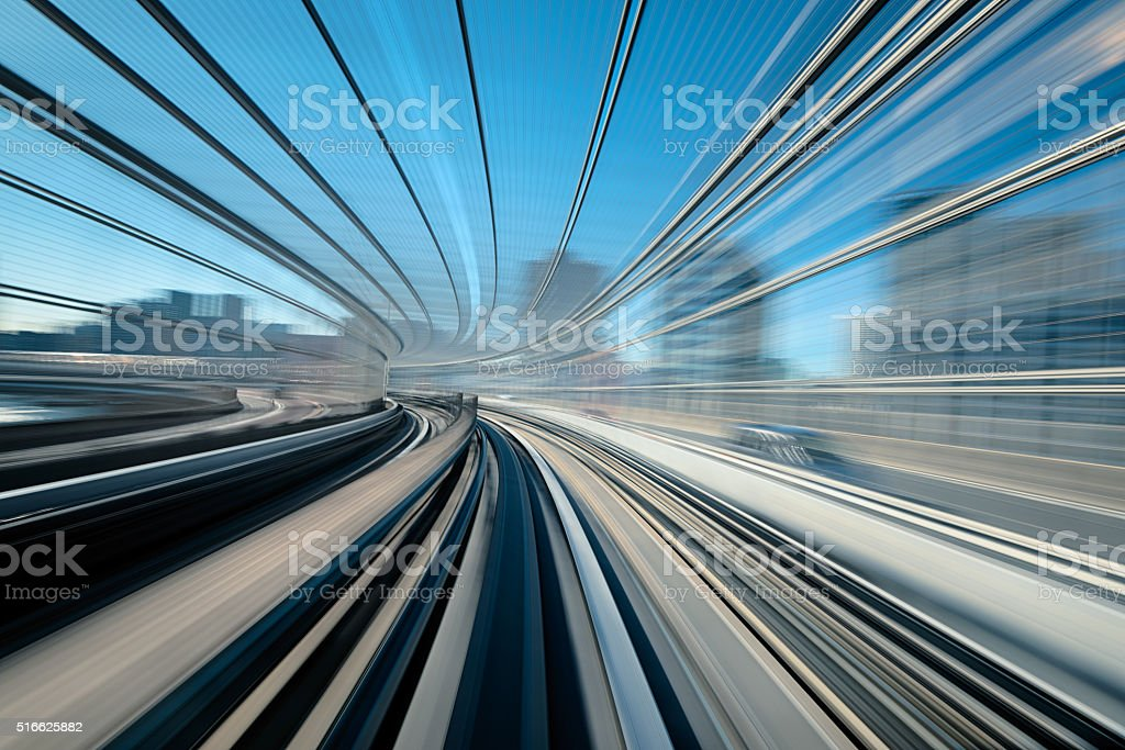 Railway in Blurred Motion. stock photo