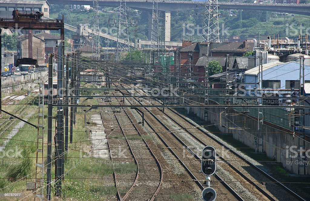 Railway in industrial area stock photo