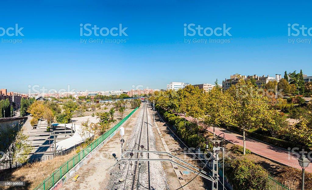Railway in Madrid stock photo