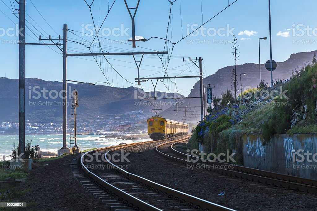 Railway in St James in False Bay, Cape Town stock photo