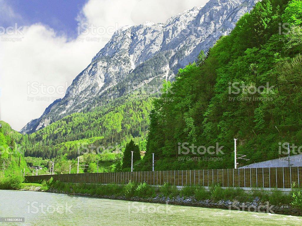 Railway in the Alps. Austrian Alps stock photo