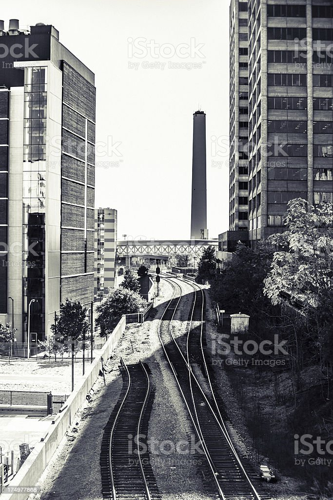 Railway in the city royalty-free stock photo