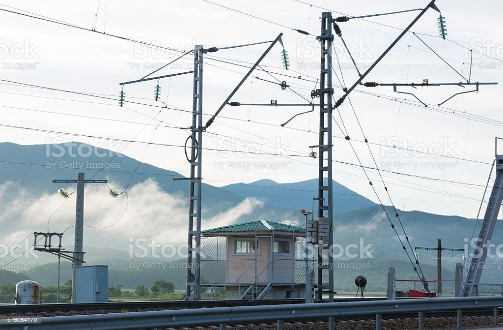 Railway in the mountains stock photo
