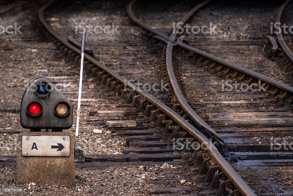 Railway junction point stock photo