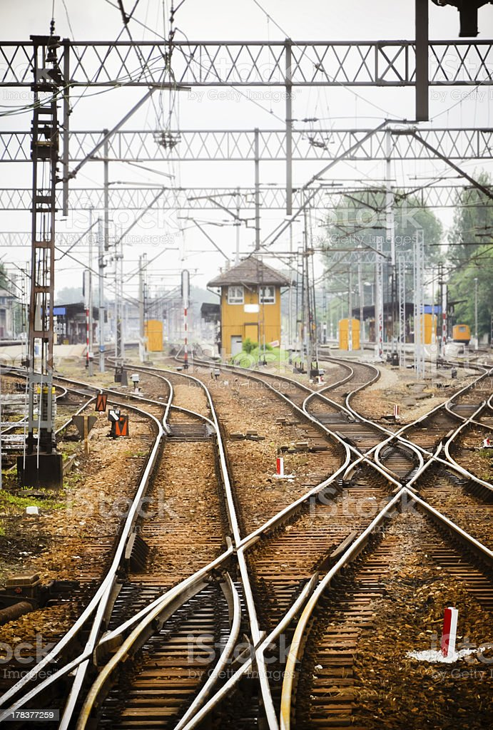 Railway junction. Tracks and station stock photo