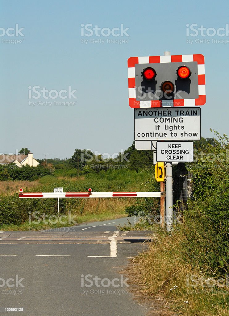 Railway Level Crossing royalty-free stock photo
