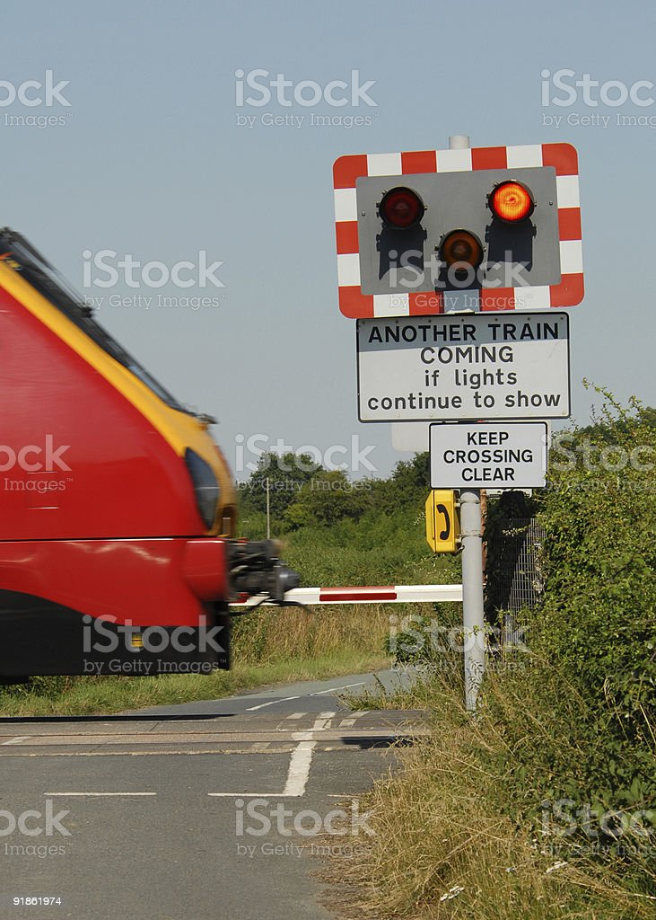 Railway Level Crossing & Train royalty-free stock photo
