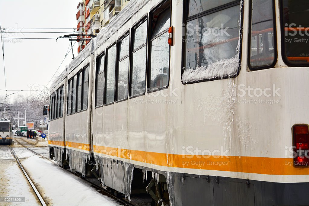Railway line in winter stock photo