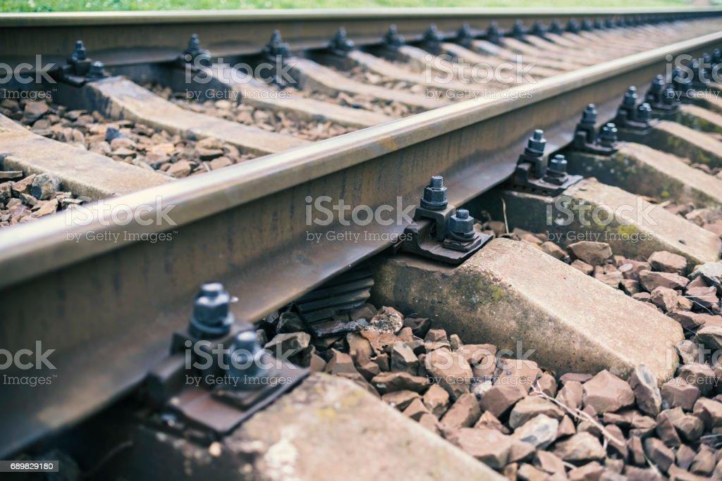 Railway line with its elements, detail, Ukraine stock photo