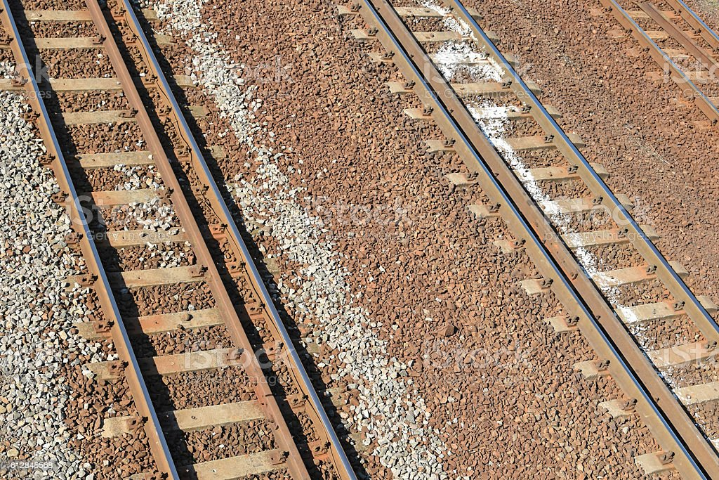 Railway lines from above stock photo