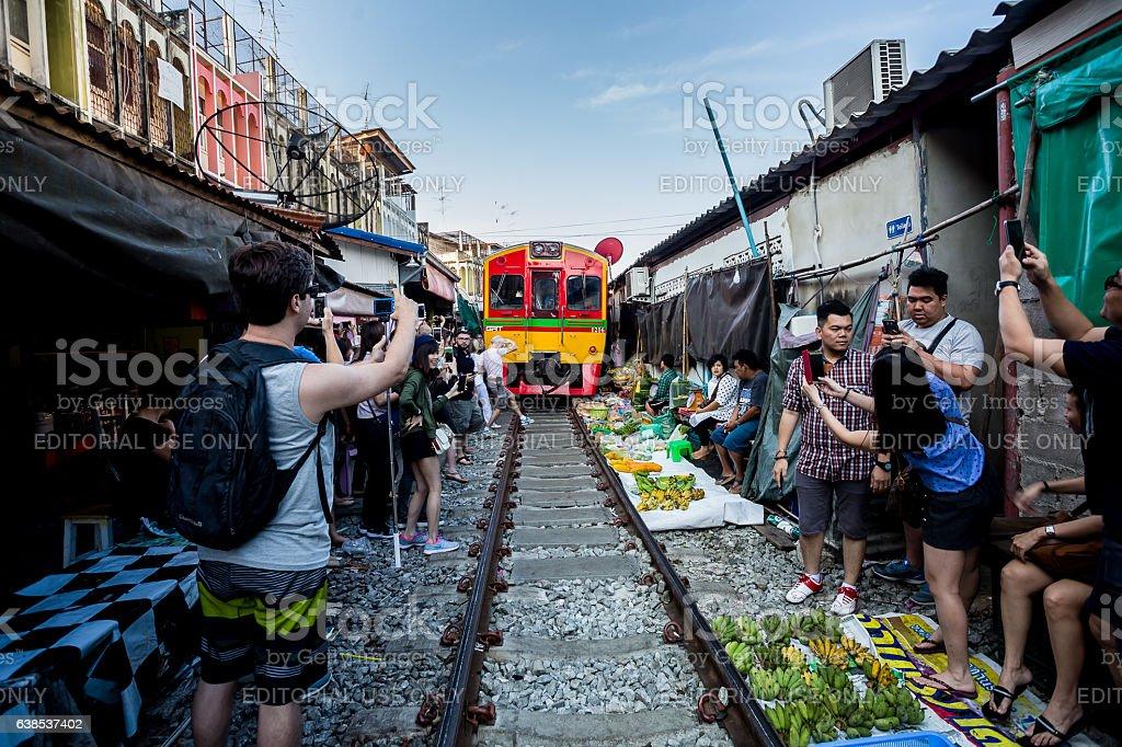 Railway market stock photo