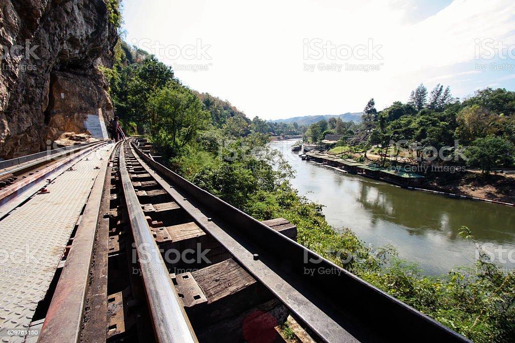 Railway north of the City of Kanchanaburi stock photo