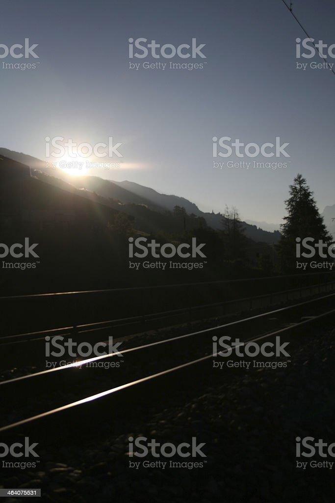 railway of rhaethische train in engadine royalty-free stock photo