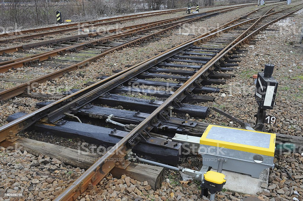 Railway on station royalty-free stock photo