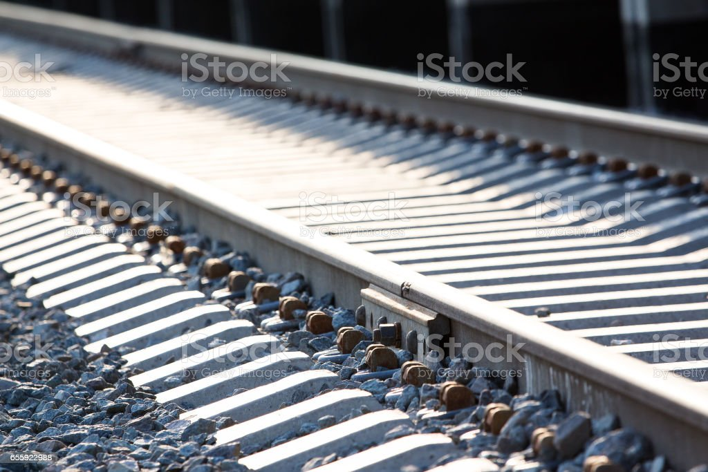 Railway path in perspective stock photo