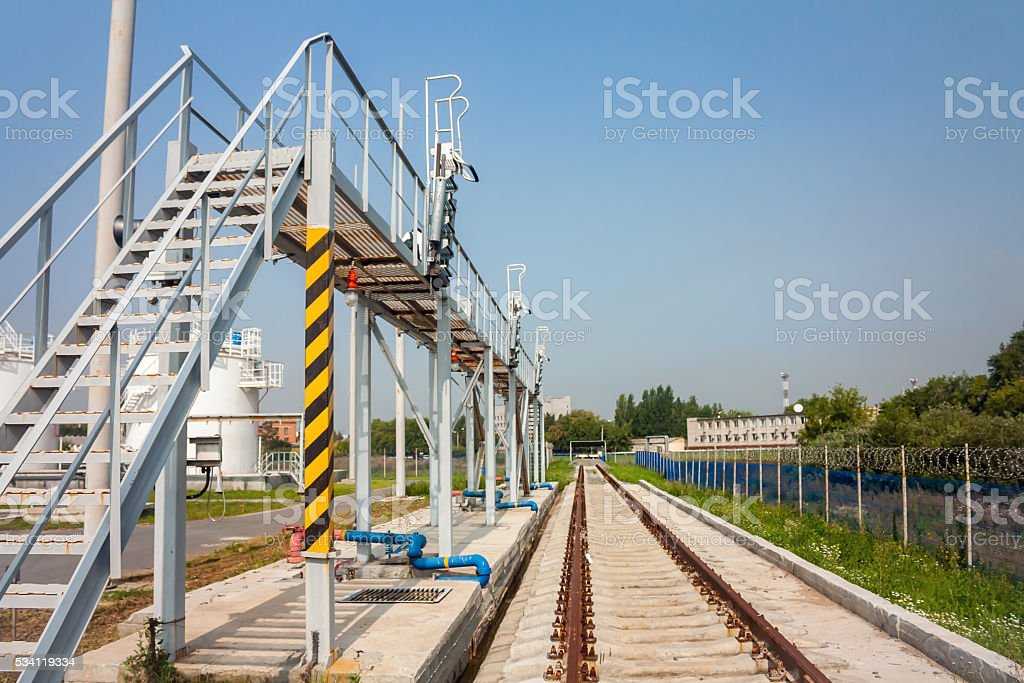 Railway platform of refueling complex in the airport royalty-free stock photo