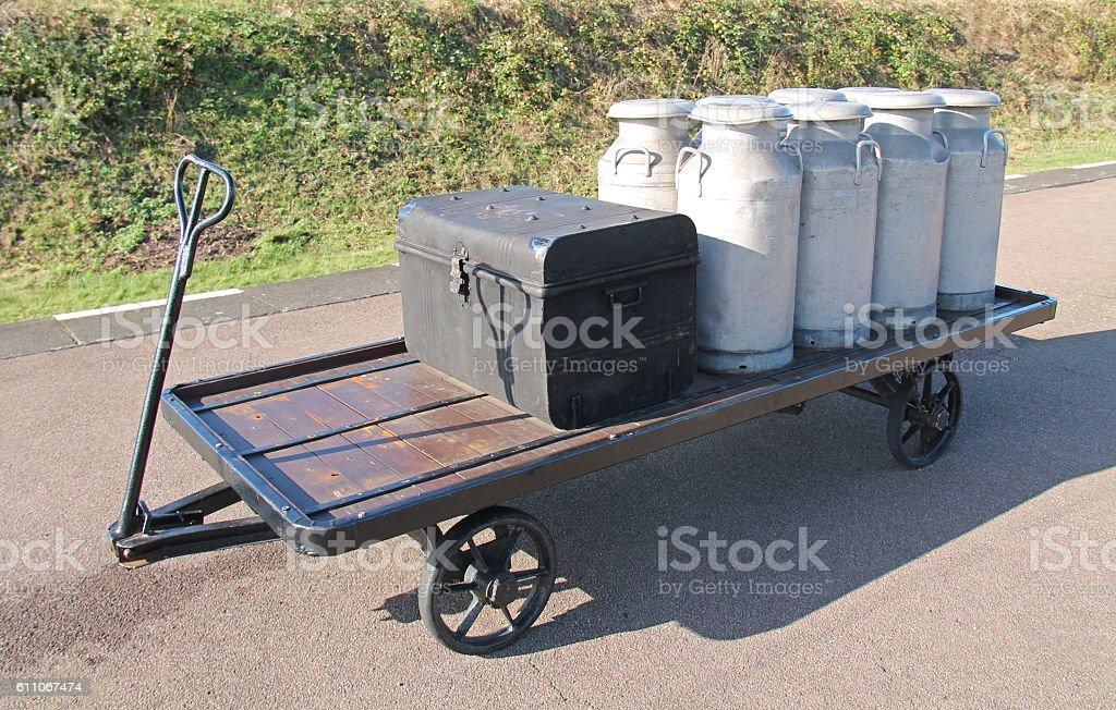 Railway Platform Trolley. stock photo