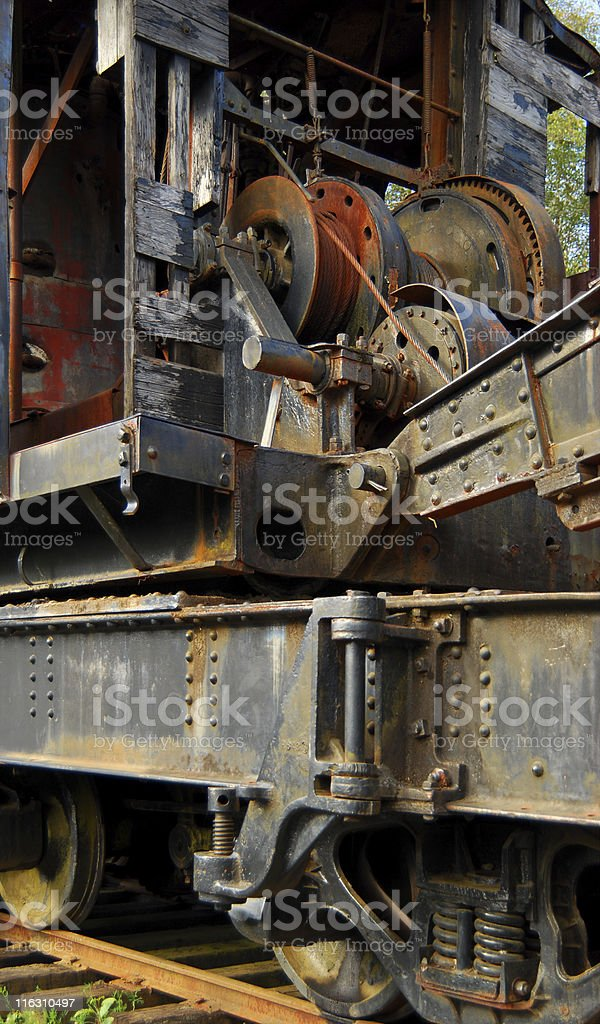 Railway Portfolio - Huge Antique Logging Crane stock photo