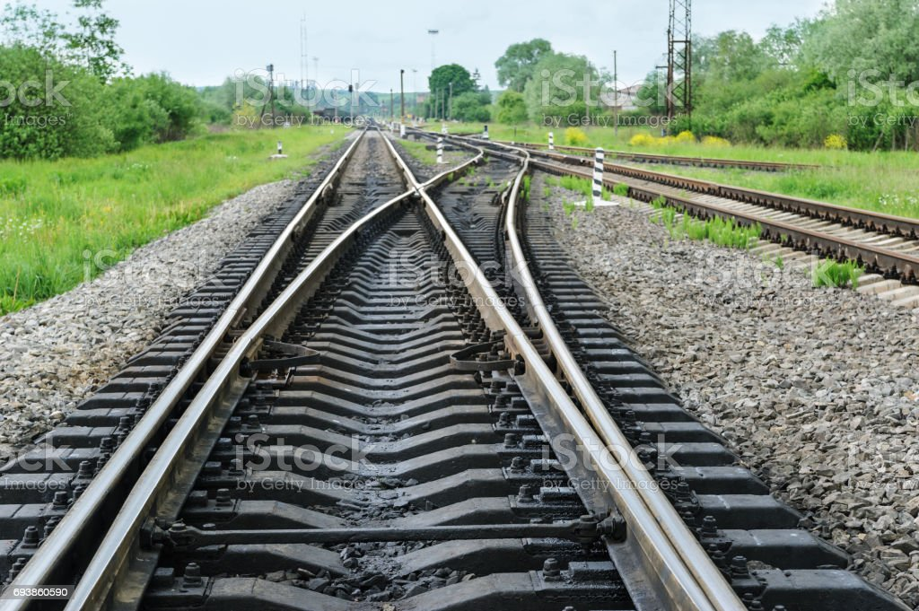 Railway road out of town. stock photo