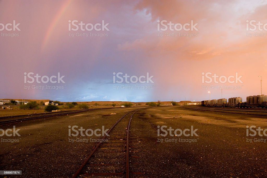 Railway Shunting Yard with freight cars, Namibia stock photo