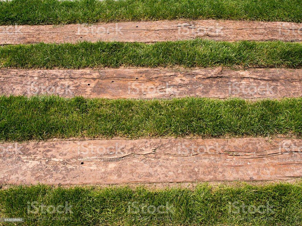 Railway sleepers and grass stock photo