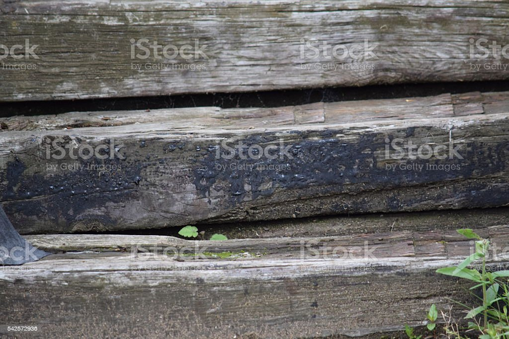 Railway sleepers as a stair stock photo