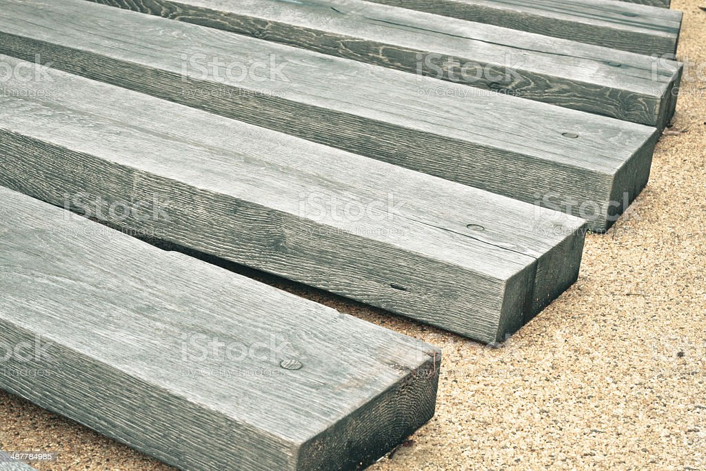 Railway sleepers stock photo