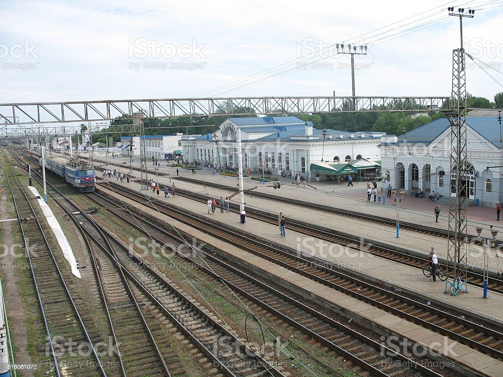 railway station and trains stock photo