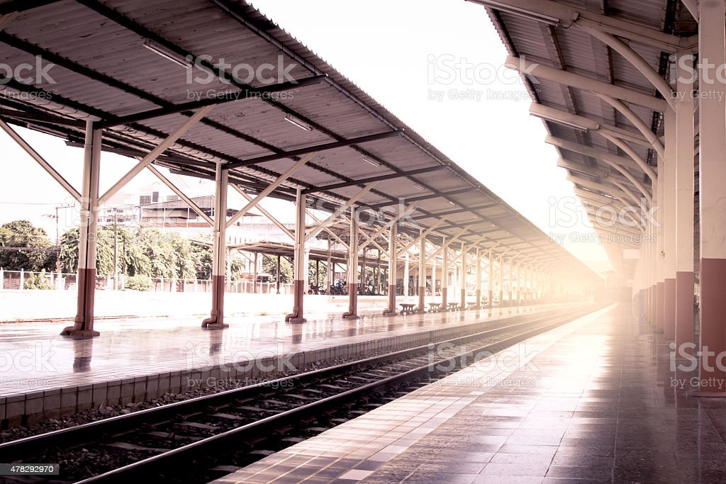 railway station at Chiangmai Thailand in vintage color filter stock photo