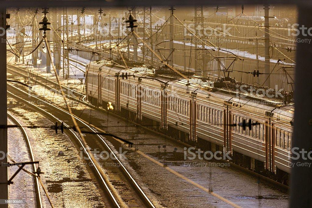 Railway station at sunset royalty-free stock photo