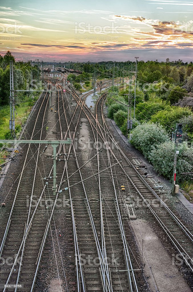 Railway Station at Sunset royalty-free stock photo