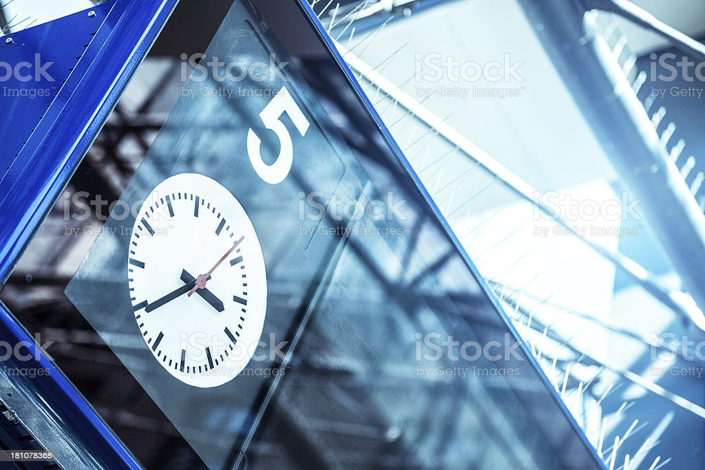 Railway station clock stock photo