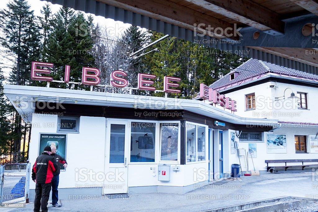 Railway station  Eibsee stock photo