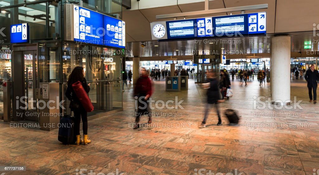 Railway Station Hall Rotterdam stock photo