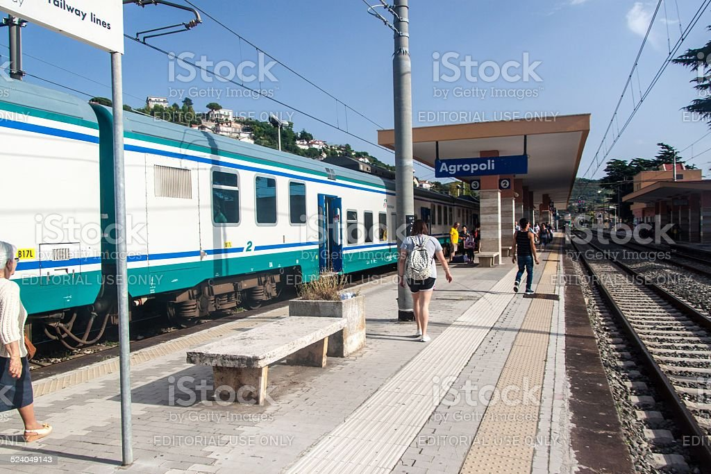 railway station in Agropoli stock photo