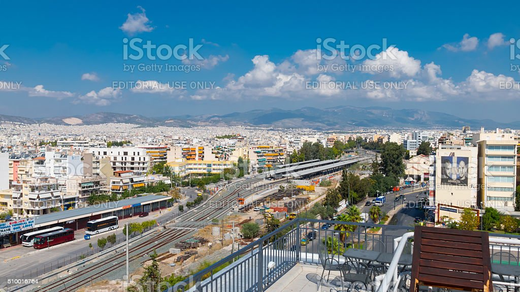 Railway station in Athens, Greece stock photo