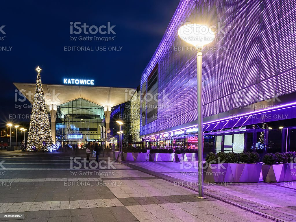 railway station  in Katowice decorated by the christmas lights stock photo