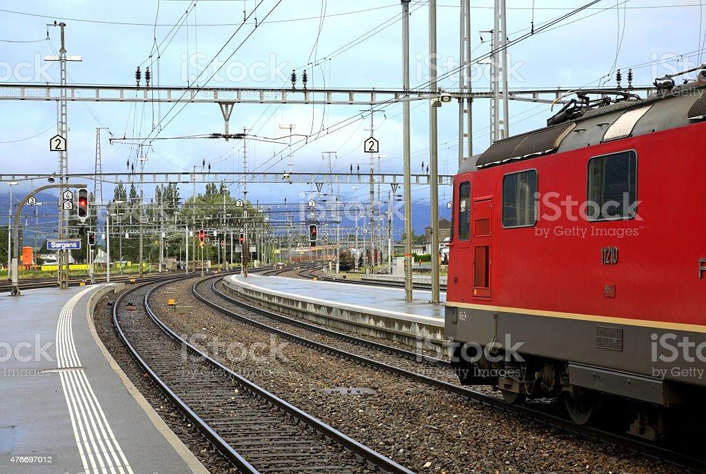 Railway station in Sargans. Switzerland stock photo
