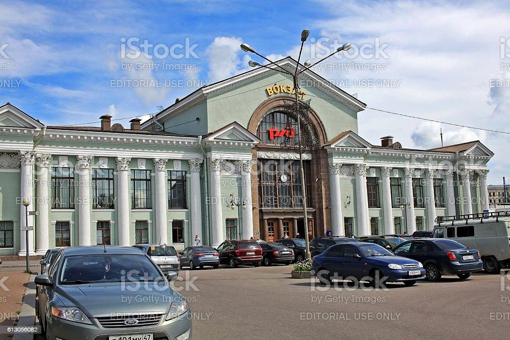 Railway station in Vyborg, Russia stock photo