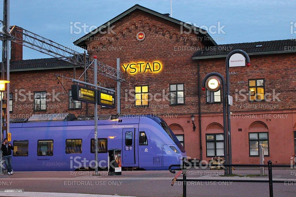 Railway station in Ystad, Sweden stock photo