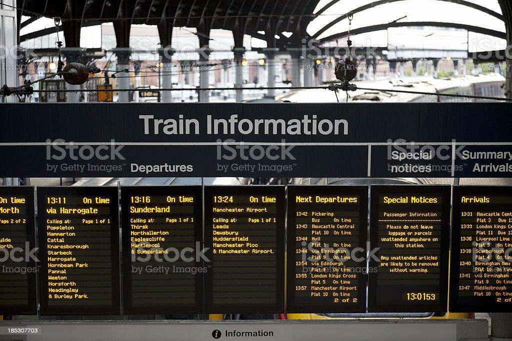 Railway station information board stock photo