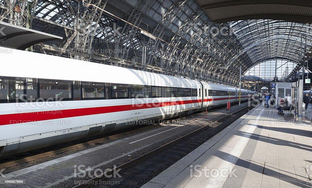 Railway station, leaving ICE train stock photo