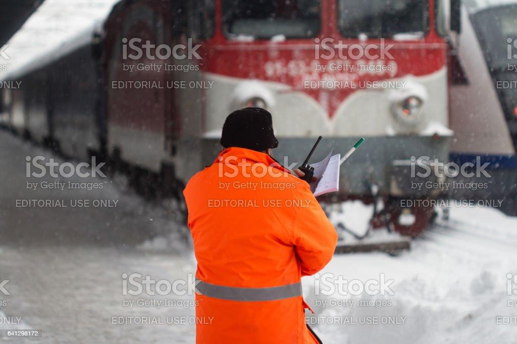 Railway station maintenance crew stock photo