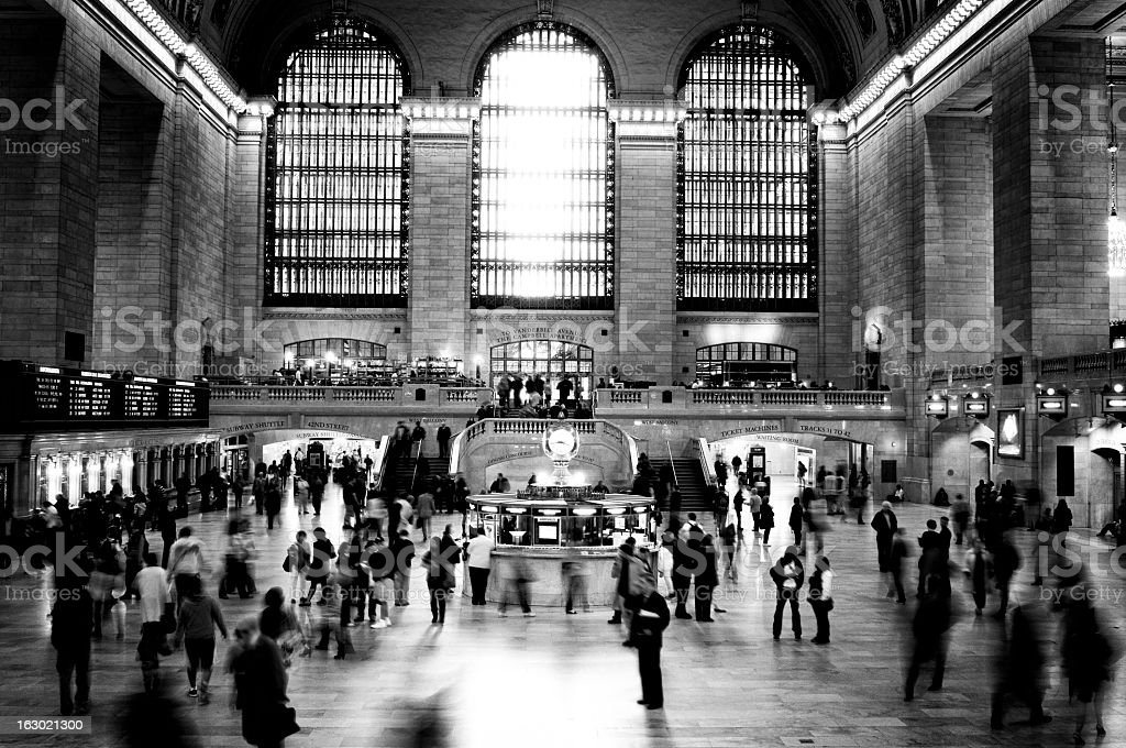 Railway Station, NYC. Black And White. stock photo