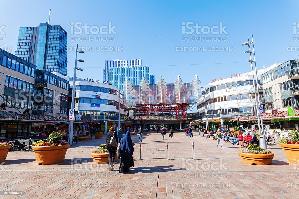railway station of Almere, Netherlands stock photo
