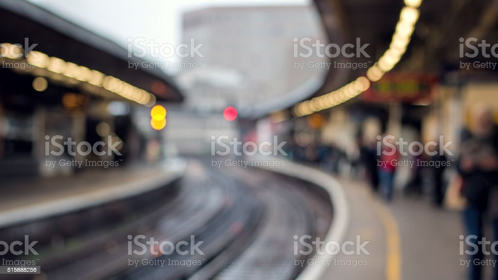 Railway Station Platform & People. Soft Focus Background. City Transport stock photo